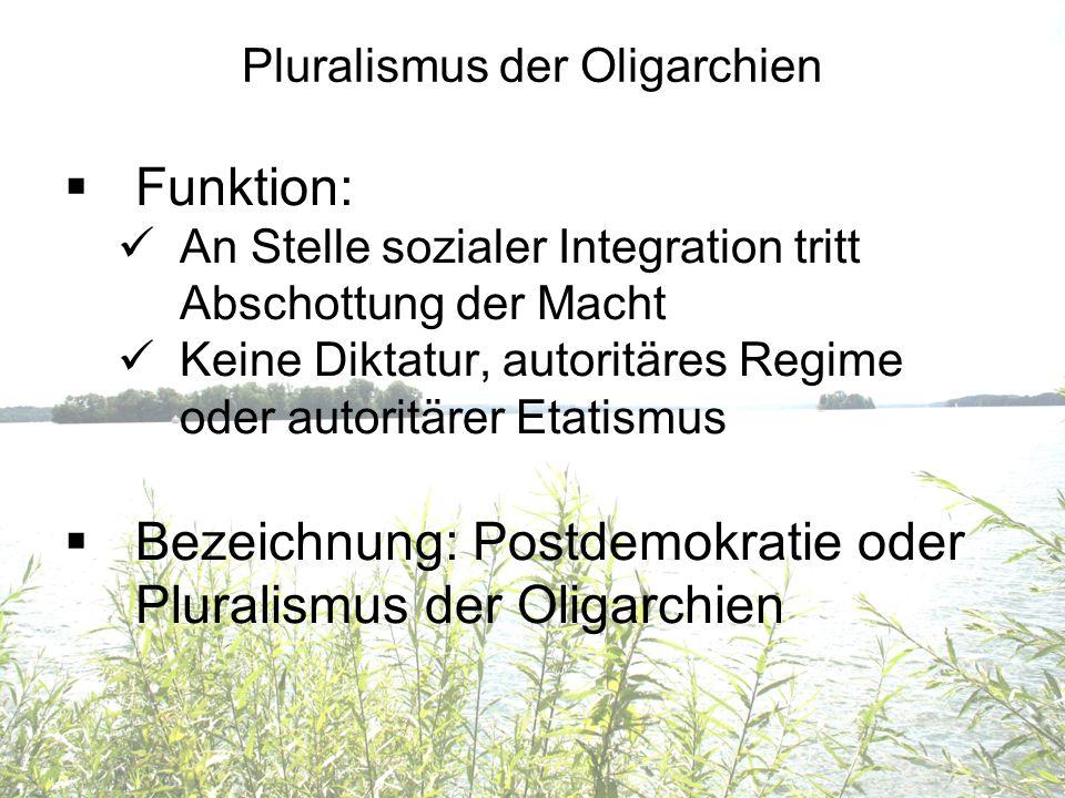 Pluralismus der Oligarchien Funktion: An Stelle sozialer Integration tritt Abschottung der Macht Keine Diktatur, autoritäres Regime oder autoritärer E