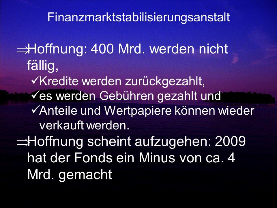Finanzmarktstabilisierungsanstalt Hoffnung: 400 Mrd. werden nicht fällig, Kredite werden zurückgezahlt, es werden Gebühren gezahlt und Anteile und Wer