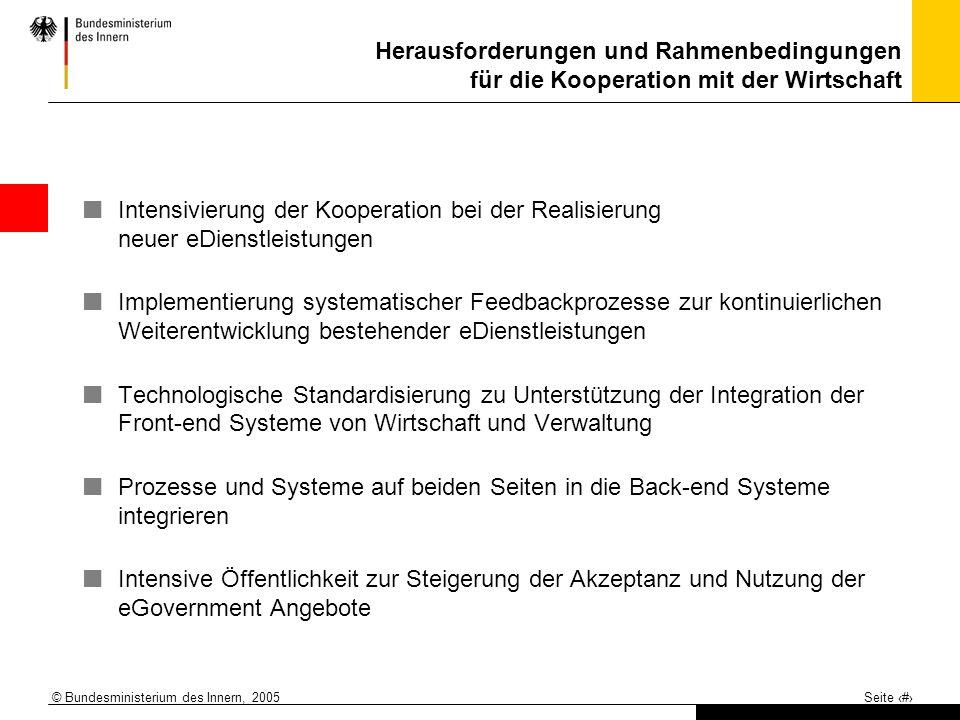 © Bundesministerium des Innern, 2005 Seite 13 Herausforderungen und Rahmenbedingungen für die Kooperation mit der Wirtschaft Intensivierung der Kooper
