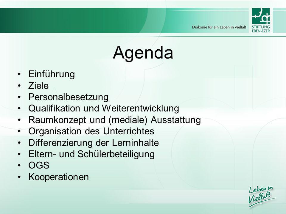 Agenda Einführung Ziele Personalbesetzung Qualifikation und Weiterentwicklung Raumkonzept und (mediale) Ausstattung Organisation des Unterrichtes Diff