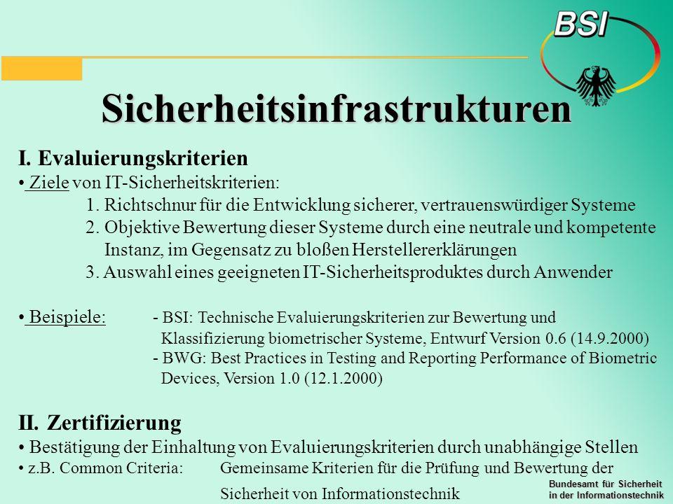 Bundesamt für Sicherheit in der Informationstechnik Sicherheitsinfrastrukturen I. Evaluierungskriterien Ziele von IT-Sicherheitskriterien: 1. Richtsch