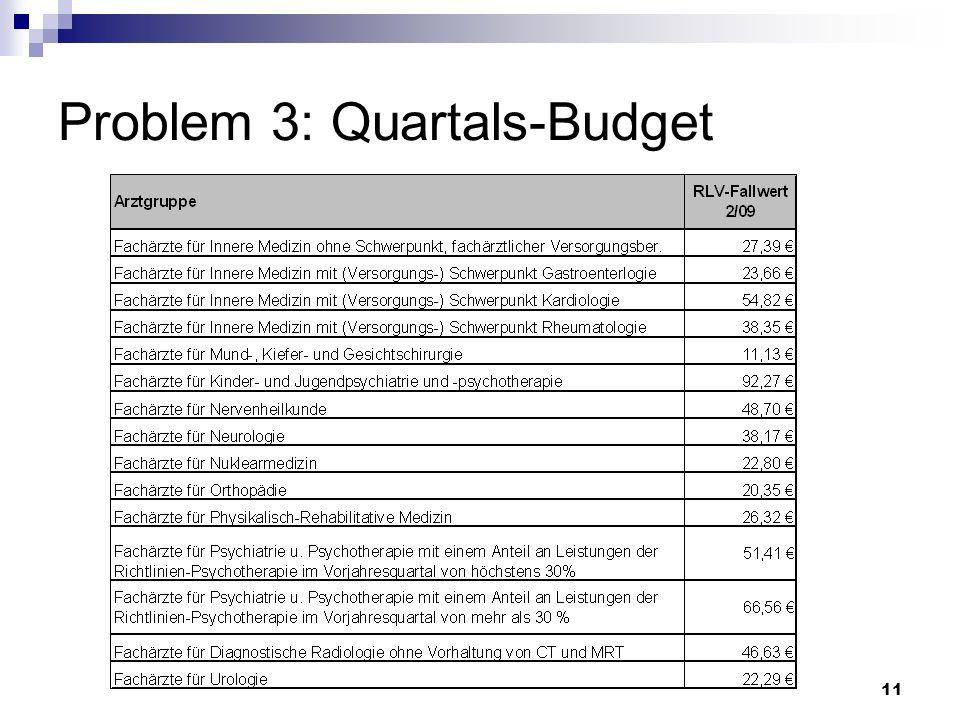 11 Problem 3: Quartals-Budget