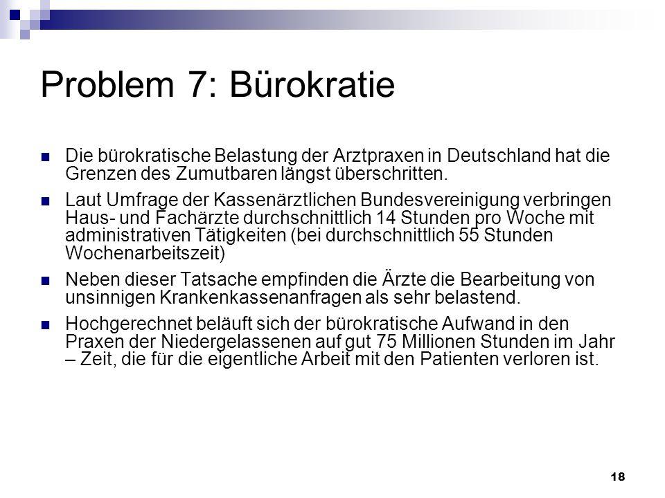 18 Problem 7: Bürokratie Die bürokratische Belastung der Arztpraxen in Deutschland hat die Grenzen des Zumutbaren längst überschritten. Laut Umfrage d