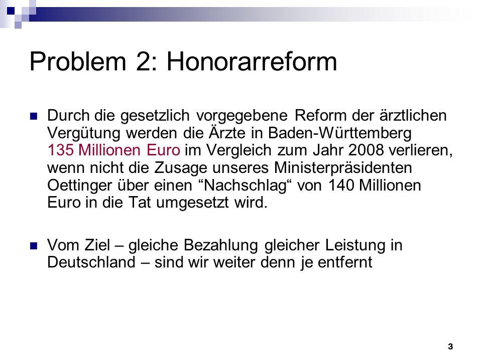 3 Problem 2: Honorarreform Durch die gesetzlich vorgegebene Reform der ärztlichen Vergütung werden die Ärzte in Baden-Württemberg 135 Millionen Euro i