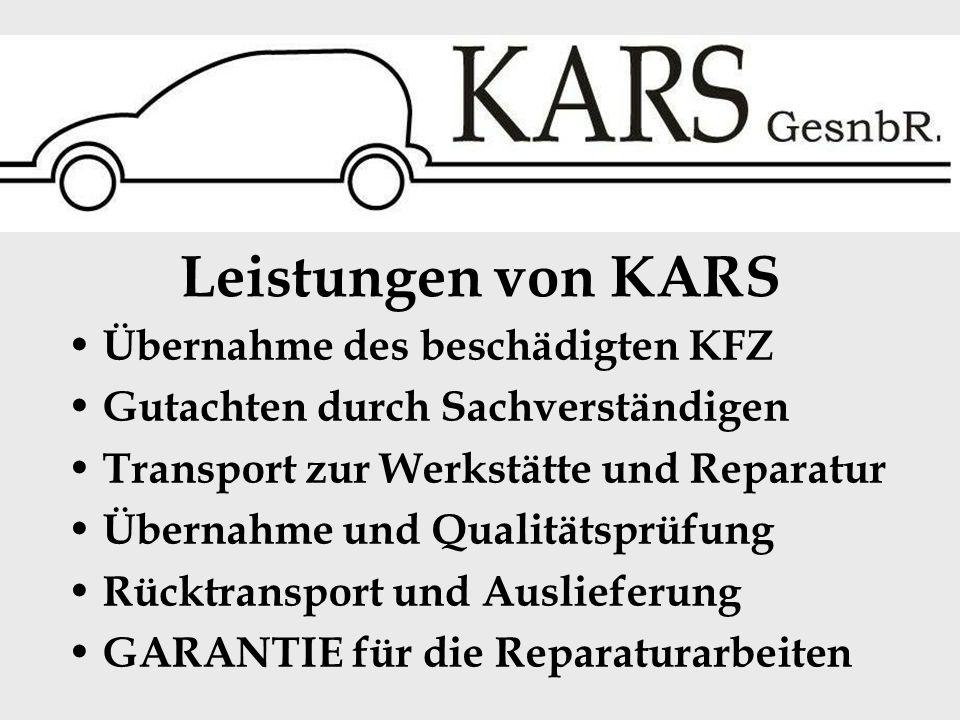 Sonderleistungen von KARS kostenloser Leihwagen während der Reparaturdauer Außen- und Innenreinigung des Fahrzeuges im Wert von mehr als 50 uro Übernahme des Selbstbehaltes bis 250 das reparierte Fahrzeug wird vollgetankt ausgeliefert