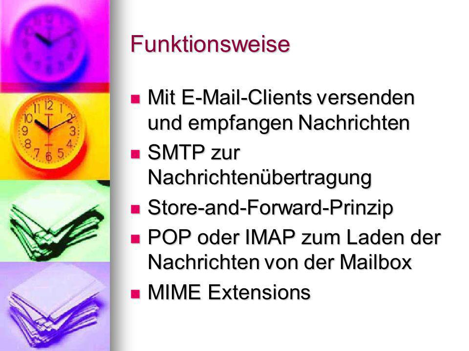 Funktionsweise Mit E-Mail-Clients versenden und empfangen Nachrichten Mit E-Mail-Clients versenden und empfangen Nachrichten SMTP zur Nachrichtenübert