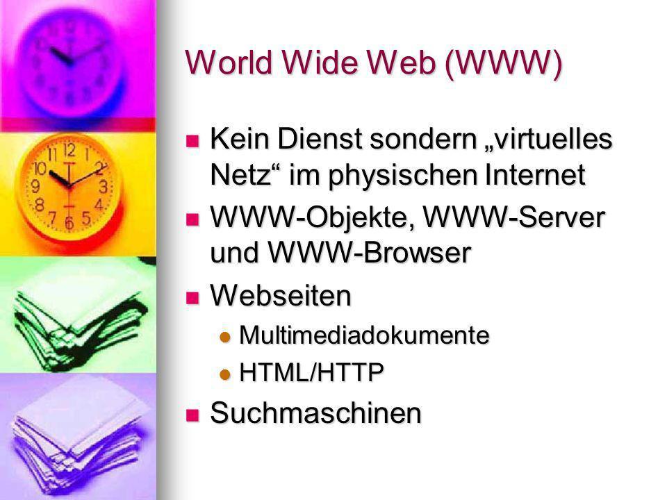 Funktionsweise WWW-Server stellen Webseiten (HTTP-Server) und integrierte Dienste (Mail, FTP, News) zur Verfügung WWW-Server stellen Webseiten (HTTP-Server) und integrierte Dienste (Mail, FTP, News) zur Verfügung WWW-Browser zur Navigation, Darstellung und Interaktion WWW-Browser zur Navigation, Darstellung und Interaktion Identifikation durch URL (Uniform Resource Locator) Identifikation durch URL (Uniform Resource Locator)