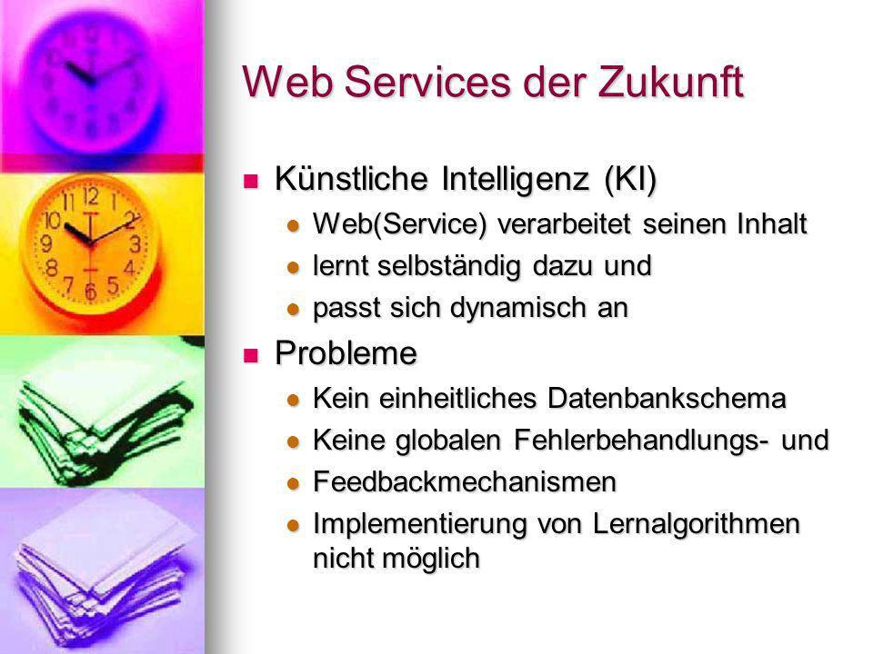 Web Services der Zukunft (2) Kabellos und benutzerfreundlich Kabellos und benutzerfreundlich Zugang jederzeit und überall mit mobilen Geräten (PDAs, Handys, Tablet-PCs,...) Zugang jederzeit und überall mit mobilen Geräten (PDAs, Handys, Tablet-PCs,...) schnurlose Kommunikation und Synchronisation (z.B.