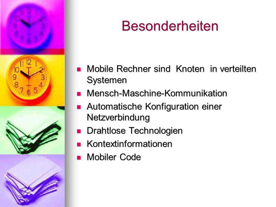 Mobilitätsmerkmale Grösse und Gewicht Grösse und Gewicht Ausgabemedium Ausgabemedium Eingabemedium Eingabemedium Rechnerressourcen Rechnerressourcen