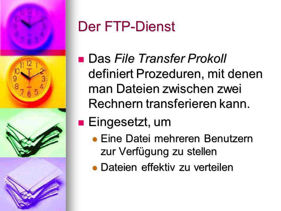 Funktionsweise Client/Server-System Client/Server-System FTP-Client erstellt eine Verbindung zum Zielrechner, auf dem ein sogenannter FTP- Server installiert sein muss FTP-Client erstellt eine Verbindung zum Zielrechner, auf dem ein sogenannter FTP- Server installiert sein muss Upload, Download und Manipulation von Dateien und Verzeichnissen möglich Upload, Download und Manipulation von Dateien und Verzeichnissen möglich