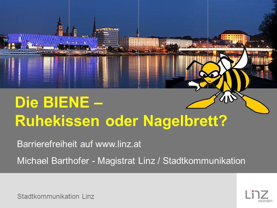 Stadtkommunikation Linz Die BIENE – Ruhekissen oder Nagelbrett? Barrierefreiheit auf www.linz.at Michael Barthofer - Magistrat Linz / Stadtkommunikati