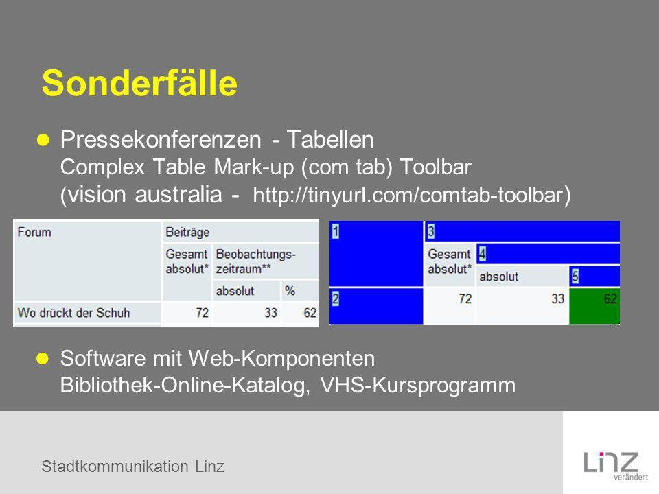 Stadtkommunikation Linz Sonderfälle Pressekonferenzen - Tabellen Complex Table Mark-up (com tab) Toolbar ( vision australia - http://tinyurl.com/comta