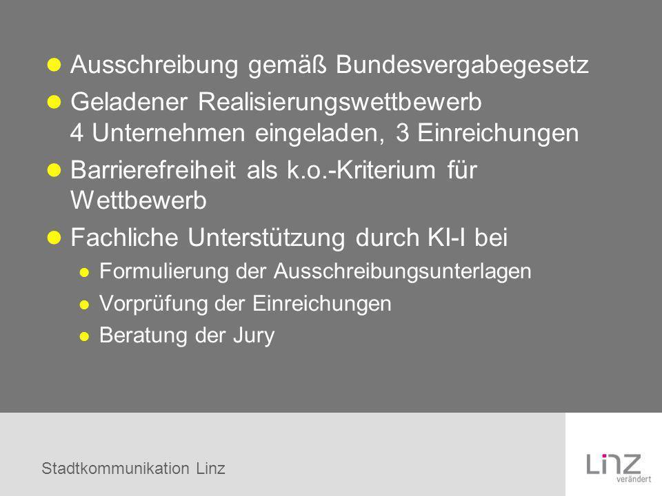 Stadtkommunikation Linz Ausschreibung gemäß Bundesvergabegesetz Geladener Realisierungswettbewerb 4 Unternehmen eingeladen, 3 Einreichungen Barrierefr