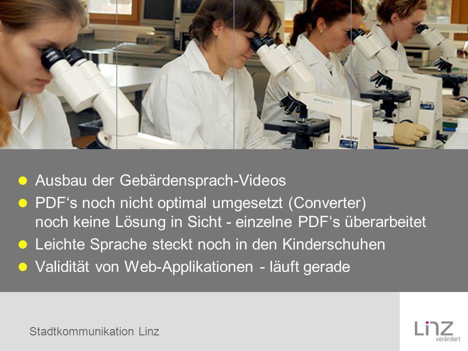 Stadtkommunikation Linz Ausbau der Gebärdensprach-Videos PDFs noch nicht optimal umgesetzt (Converter) noch keine Lösung in Sicht - einzelne PDFs über