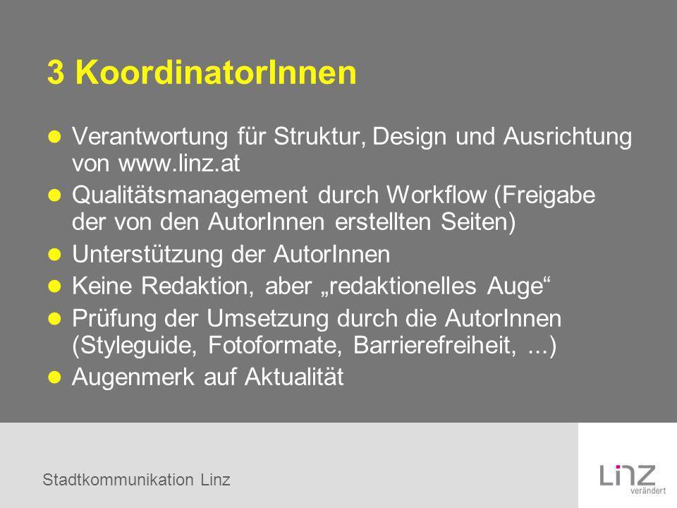 Stadtkommunikation Linz 3 KoordinatorInnen Verantwortung für Struktur, Design und Ausrichtung von www.linz.at Qualitätsmanagement durch Workflow (Frei