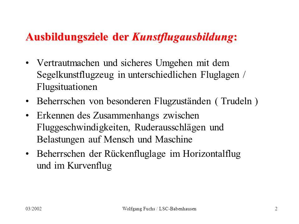 103/2002Wolfgang Fuchs / LSC-Babenhausen Schulungsmethodik der Grundfiguren im Segelkunstflug