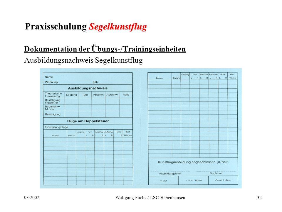 3103/2002Wolfgang Fuchs / LSC-Babenhausen Segelkunstflug Praxisschulung Segelkunstflug Das Prüfungsprogramm