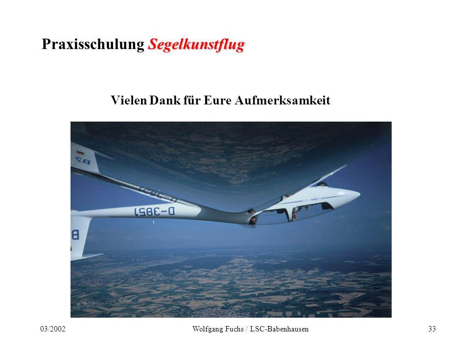 3203/2002Wolfgang Fuchs / LSC-Babenhausen Segelkunstflug Praxisschulung Segelkunstflug Dokumentation der Übungs-/Trainingseinheiten Ausbildungsnachweis Segelkunstflug