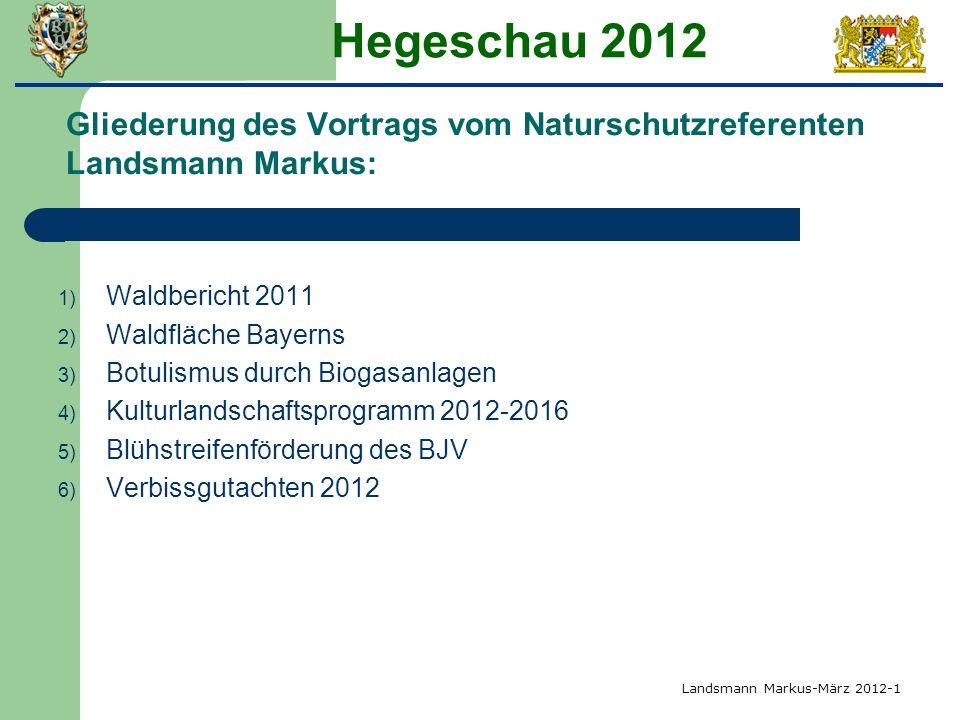 Hegeschau 2012 Gliederung des Vortrags vom Naturschutzreferenten Landsmann Markus: 1) Waldbericht 2011 2) Waldfläche Bayerns 3) Botulismus durch Bioga