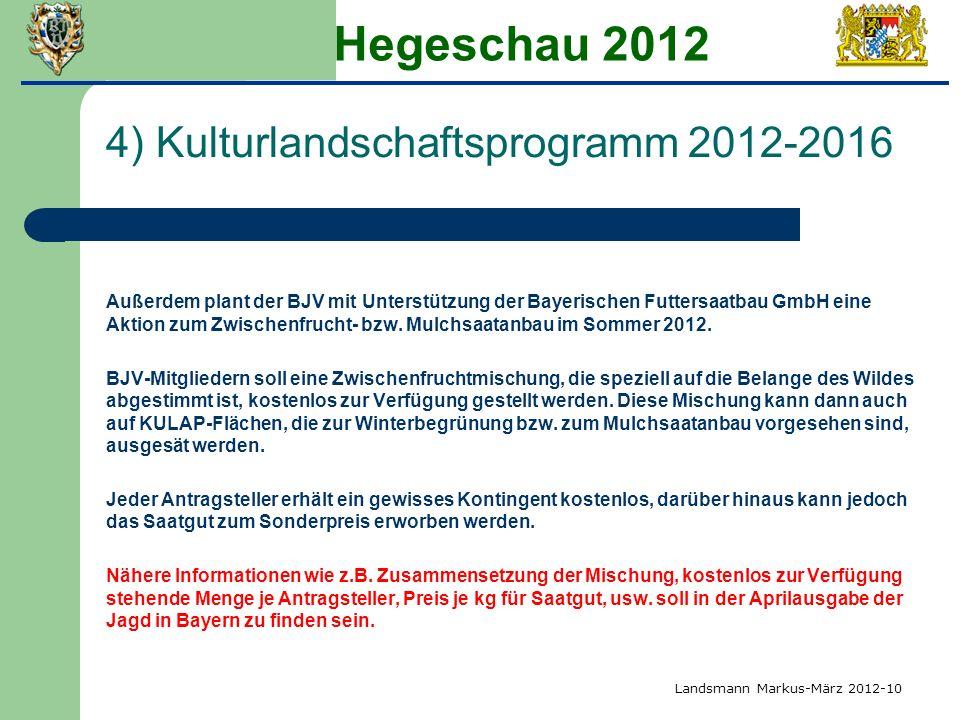 Hegeschau 2012 4) Kulturlandschaftsprogramm 2012-2016 Außerdem plant der BJV mit Unterstützung der Bayerischen Futtersaatbau GmbH eine Aktion zum Zwis