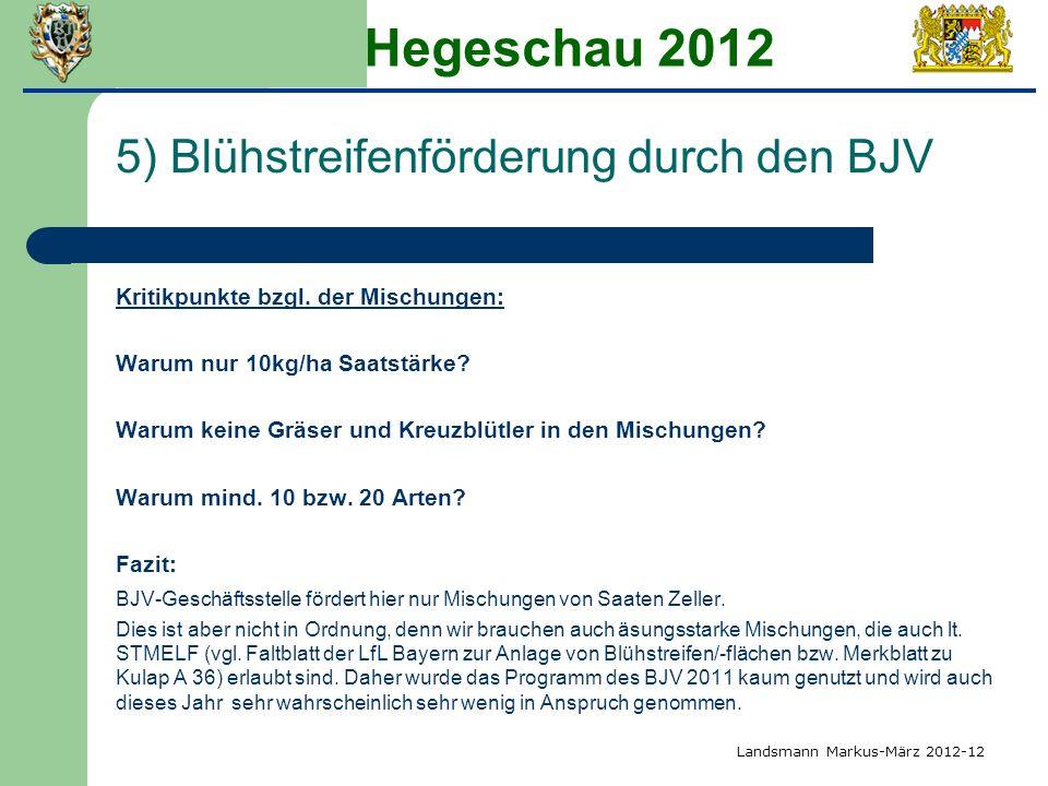 Hegeschau 2012 5) Blühstreifenförderung durch den BJV Kritikpunkte bzgl. der Mischungen: Warum nur 10kg/ha Saatstärke? Warum keine Gräser und Kreuzblü