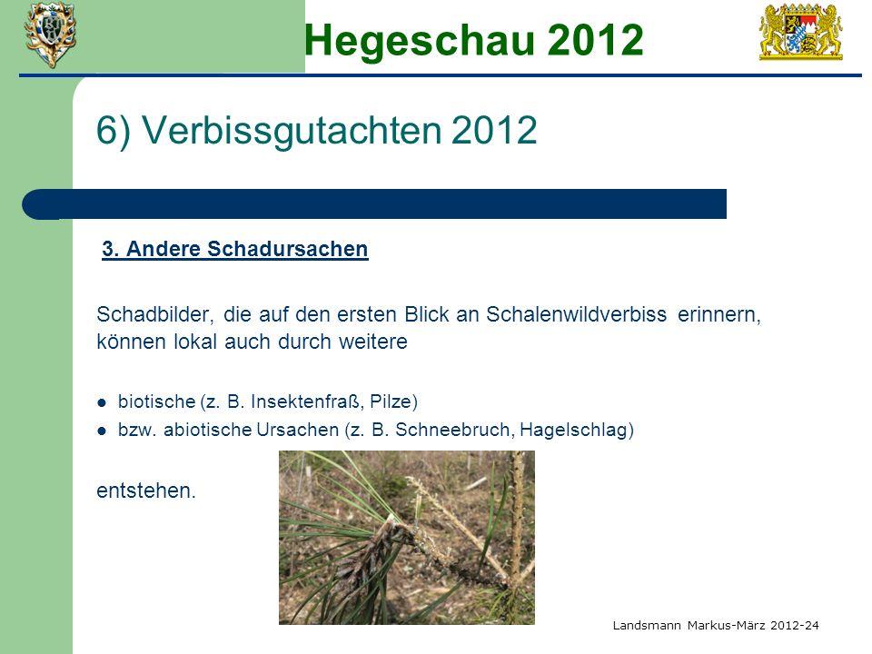 Hegeschau 2012 6) Verbissgutachten 2012 3. Andere Schadursachen Schadbilder, die auf den ersten Blick an Schalenwildverbiss erinnern, können lokal auc