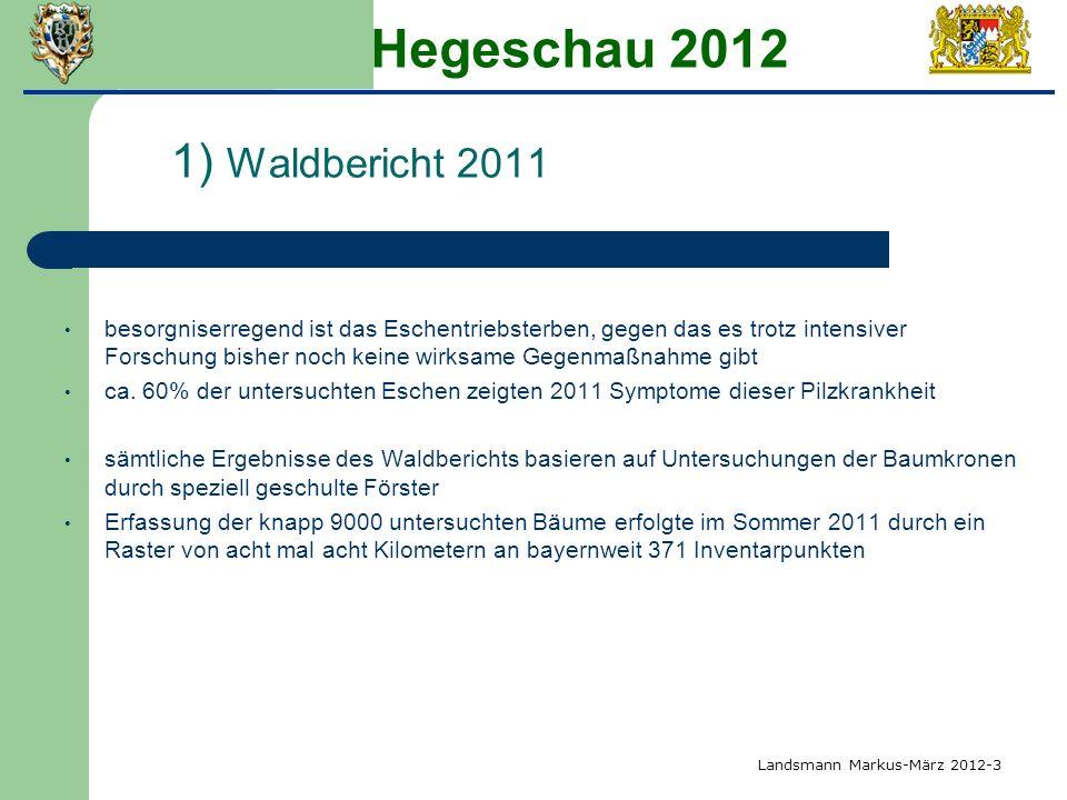 Hegeschau 2012 1) Waldbericht 2011 besorgniserregend ist das Eschentriebsterben, gegen das es trotz intensiver Forschung bisher noch keine wirksame Ge