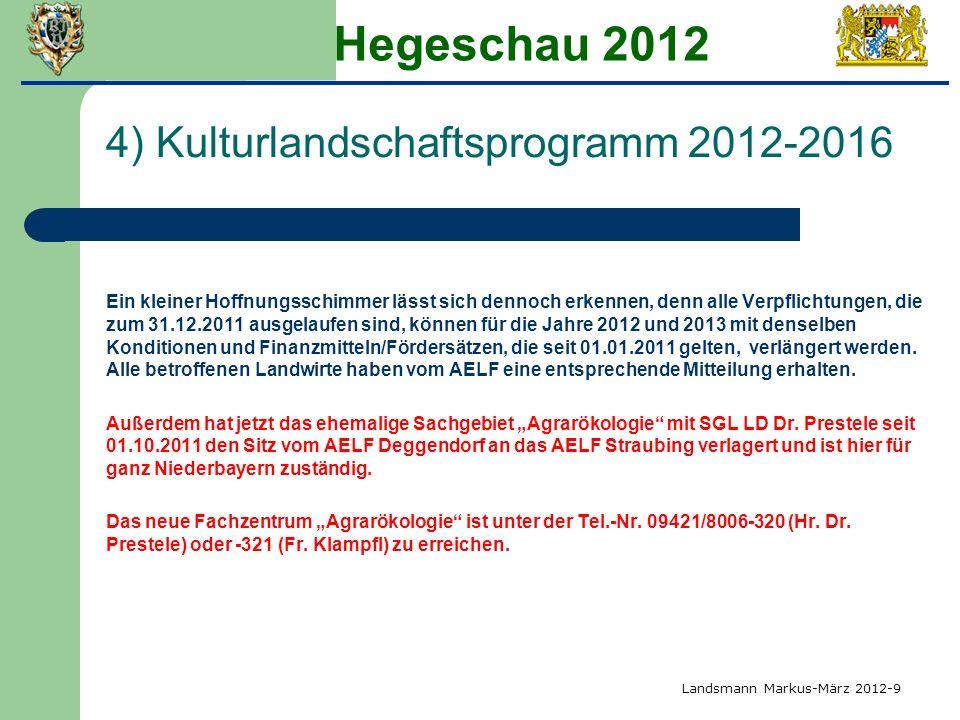 Hegeschau 2012 4) Kulturlandschaftsprogramm 2012-2016 Ein kleiner Hoffnungsschimmer lässt sich dennoch erkennen, denn alle Verpflichtungen, die zum 31