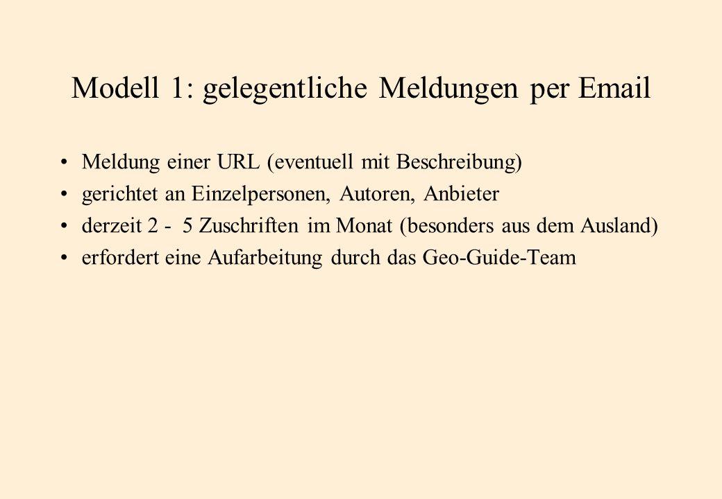 Modell 1: gelegentliche Meldungen per Email Meldung einer URL (eventuell mit Beschreibung) gerichtet an Einzelpersonen, Autoren, Anbieter derzeit 2 - 5 Zuschriften im Monat (besonders aus dem Ausland) erfordert eine Aufarbeitung durch das Geo-Guide-Team