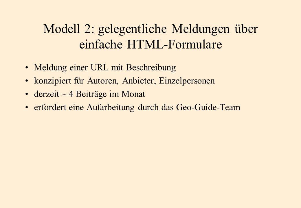 Modell 2: gelegentliche Meldungen über einfache HTML-Formulare Meldung einer URL mit Beschreibung konzipiert für Autoren, Anbieter, Einzelpersonen derzeit ~ 4 Beiträge im Monat erfordert eine Aufarbeitung durch das Geo-Guide-Team