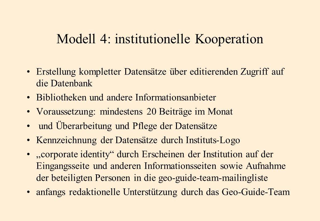 Modell 4: institutionelle Kooperation Erstellung kompletter Datensätze über editierenden Zugriff auf die Datenbank Bibliotheken und andere Information