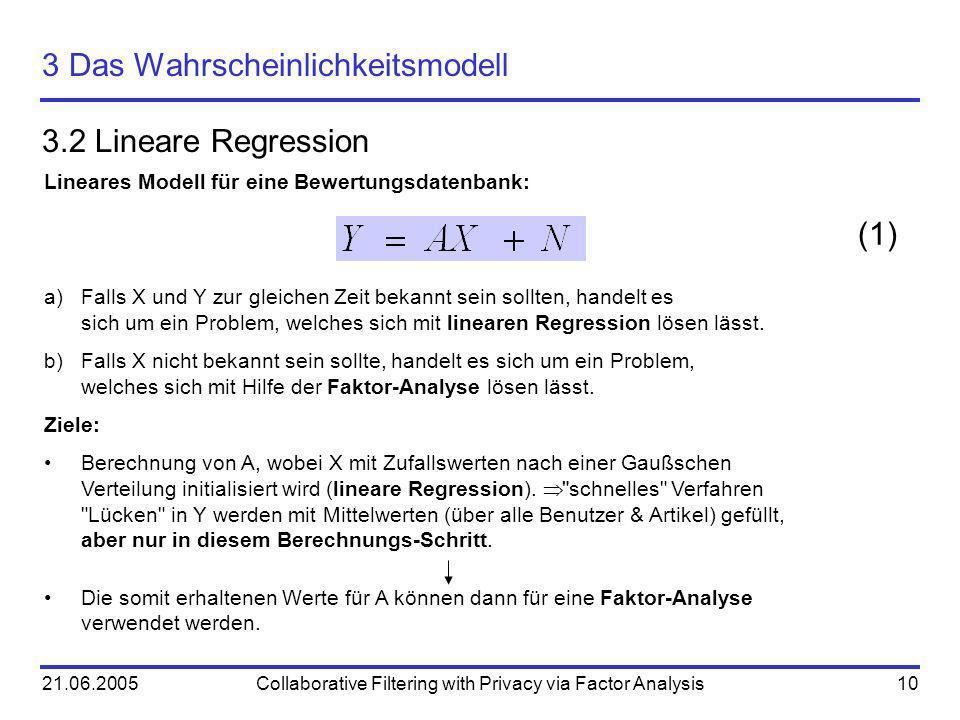 21.06.2005Collaborative Filtering with Privacy via Factor Analysis10 3 Das Wahrscheinlichkeitsmodell 3.2 Lineare Regression Lineares Modell für eine B
