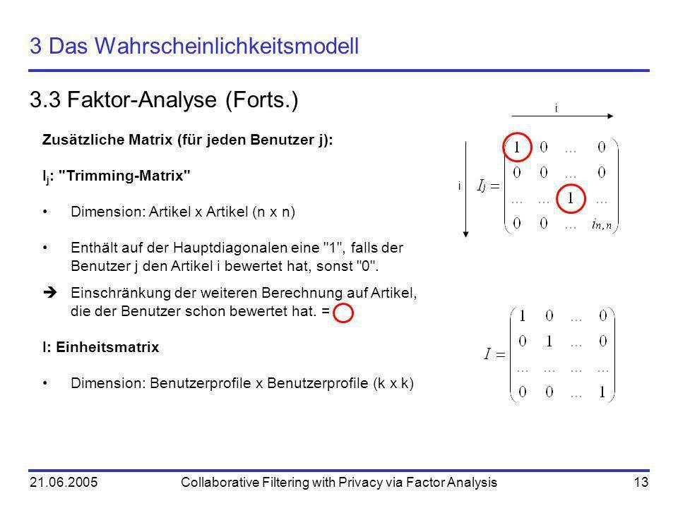 21.06.2005Collaborative Filtering with Privacy via Factor Analysis13 3 Das Wahrscheinlichkeitsmodell 3.3 Faktor-Analyse (Forts.) Zusätzliche Matrix (f