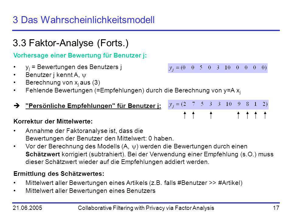 21.06.2005Collaborative Filtering with Privacy via Factor Analysis17 3 Das Wahrscheinlichkeitsmodell 3.3 Faktor-Analyse (Forts.) Vorhersage einer Bewe