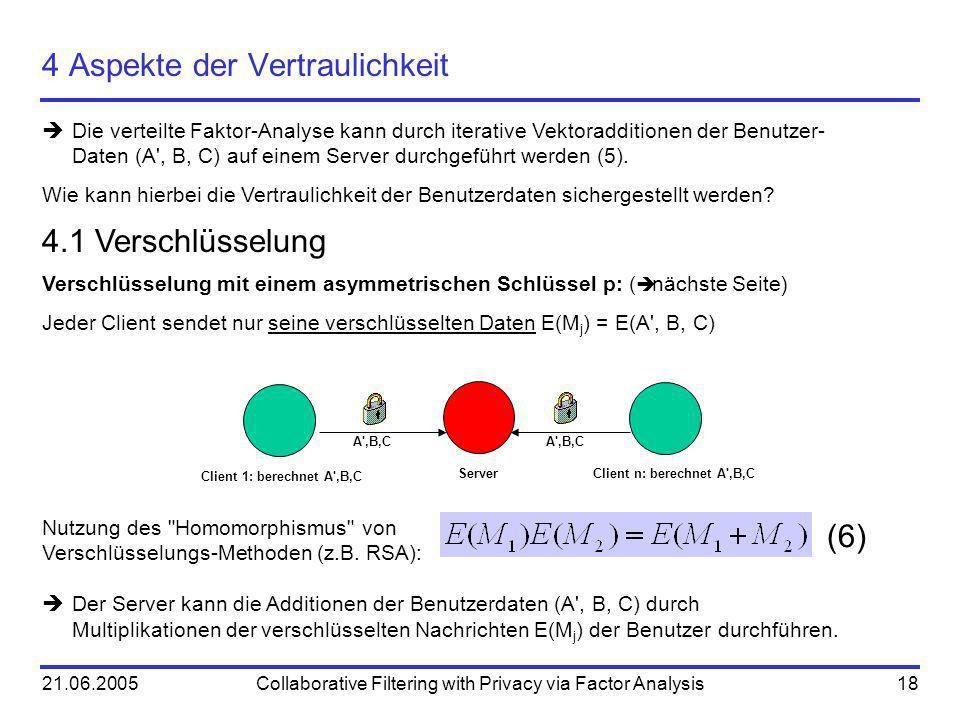 21.06.2005Collaborative Filtering with Privacy via Factor Analysis18 4 Aspekte der Vertraulichkeit Die verteilte Faktor-Analyse kann durch iterative V