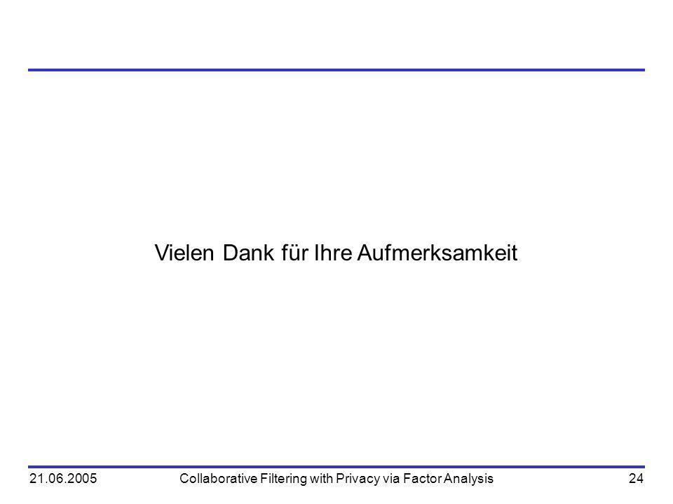 21.06.2005Collaborative Filtering with Privacy via Factor Analysis24 Vielen Dank für Ihre Aufmerksamkeit