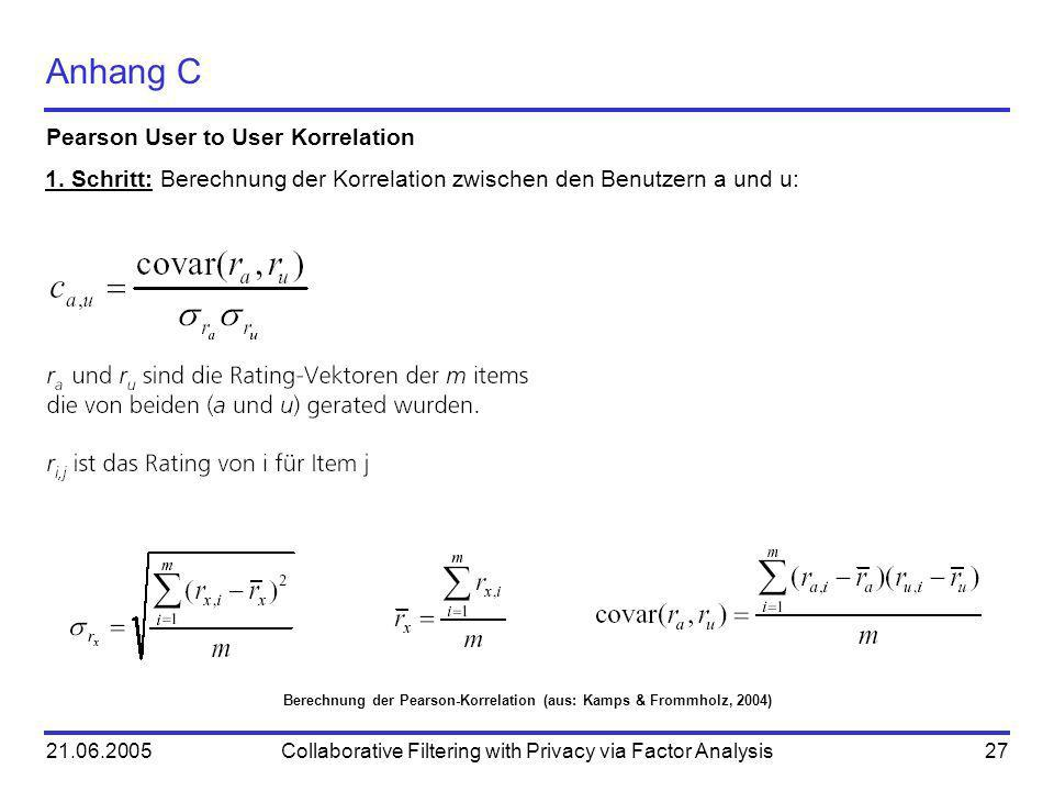 21.06.2005Collaborative Filtering with Privacy via Factor Analysis27 Anhang C Pearson User to User Korrelation Berechnung der Pearson-Korrelation (aus: Kamps & Frommholz, 2004) 1.
