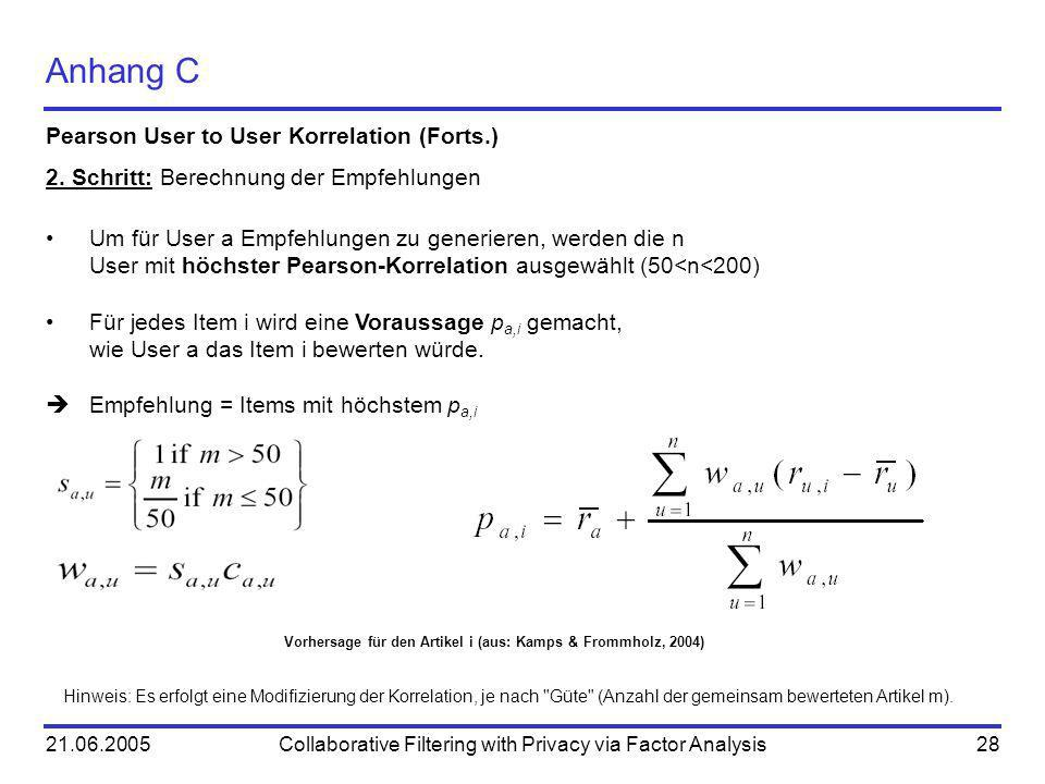 21.06.2005Collaborative Filtering with Privacy via Factor Analysis28 Anhang C Pearson User to User Korrelation (Forts.) 2.