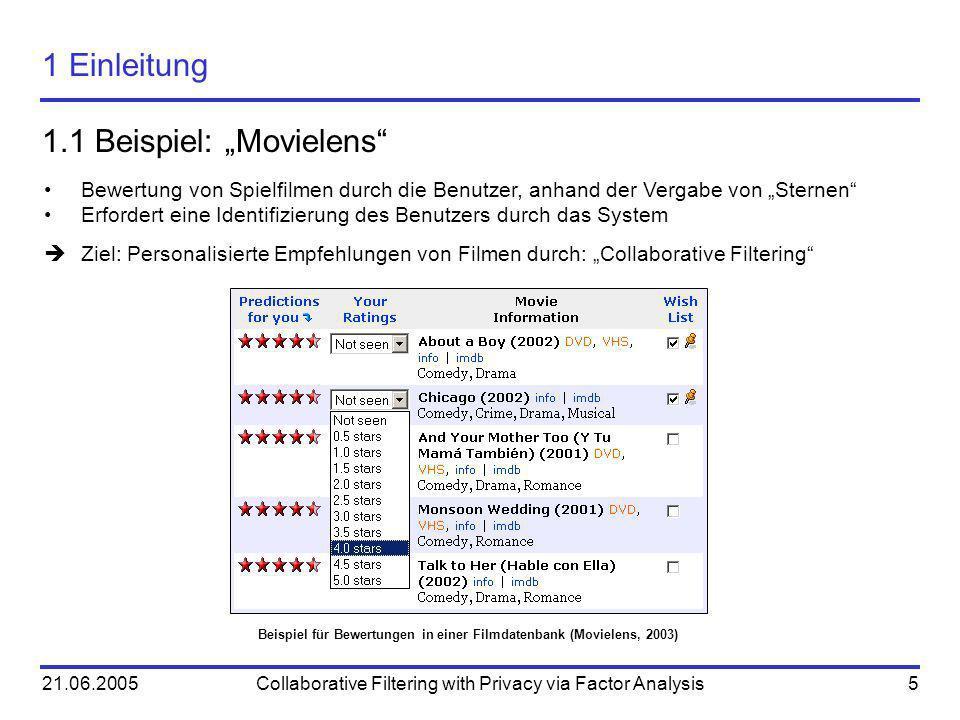 21.06.2005Collaborative Filtering with Privacy via Factor Analysis5 1 Einleitung 1.1 Beispiel: Movielens Beispiel für Bewertungen in einer Filmdatenba