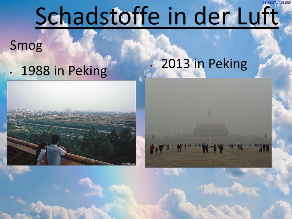 Schadstoffe in der Luft Smog 1988 in Peking 2013 in Peking