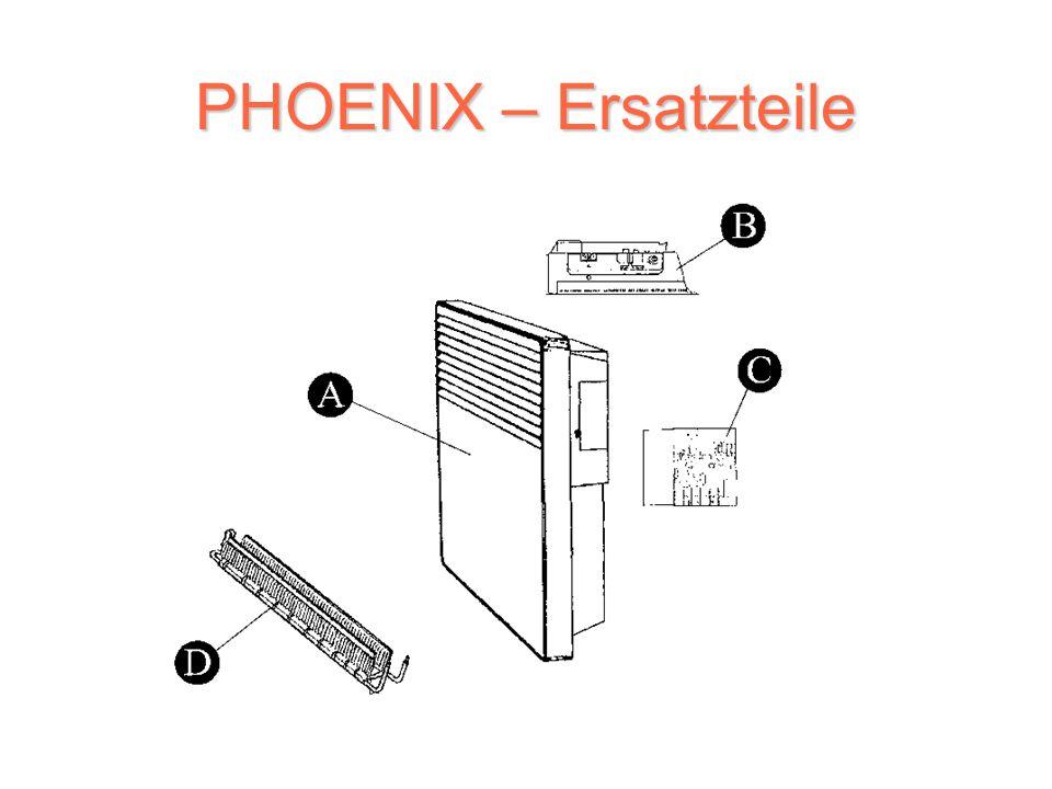PHOENIX – Steuereinheit Bedienungselemente des elektronischen Modells (in der rechten Oberecke angebracht) Ein-Aus-Schalter Knopf für Temperatureinstellung (über Null) Elektronische Regelung (Analogthermostat) Kontrollleuchte der Ausschaltung und Einschaltung