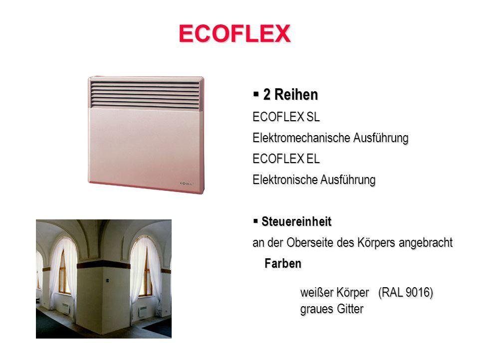 ECOFLEX ECOFLEX 2 Reihen 2 Reihen ECOFLEX SL Elektromechanische Ausführung ECOFLEX EL Elektronische Ausführung Steuereinheit Steuereinheit an der Oberseite des Körpers angebracht Farben Farben weißer Körper (RAL 9016) graues Gitter