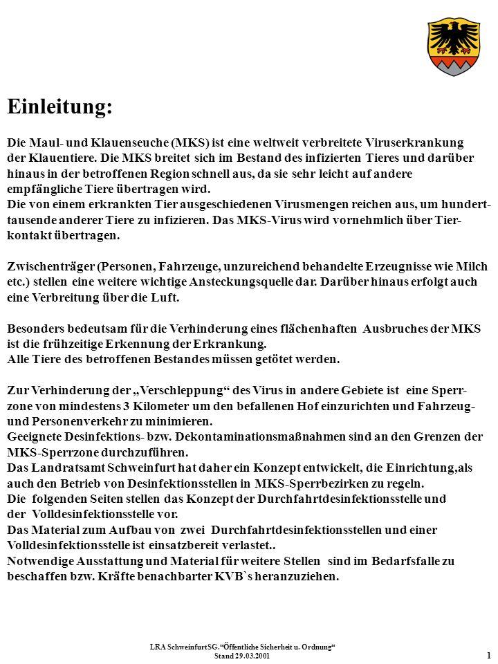 Einsatzbereiche und Zuständigkeiten: Die AC-Deko-Komponente der Freiwilligen Feuerwehr Gerolzhofen und die AC-Erkundungskomponente der Freiwilligen Feuerwehr Werneck werden als erste Einheiten alarmiert und zu einem Verfügungsraum, der sich außerhalb des Sperrgebietes befindet (Örtlichkeit wird durch das Landratsamt Schweinfurt festgelegt) abgerufen.