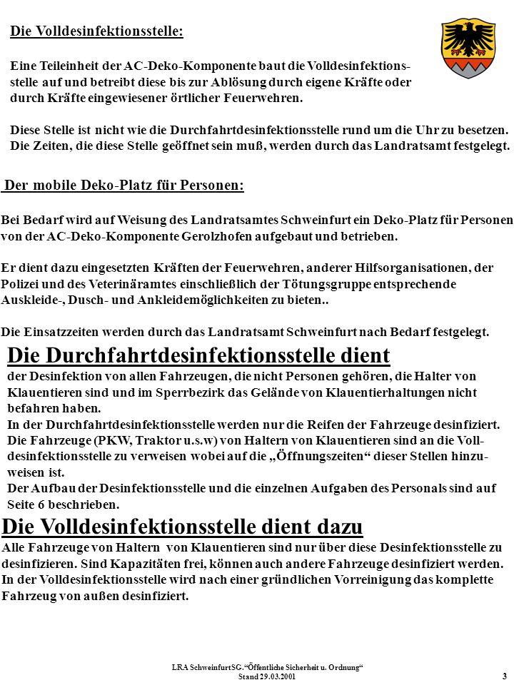 14 Erreichbarkeiten LRA SchweinfurtSG.Öffentliche Sicherheit u. Ordnung Stand 29.03.2001