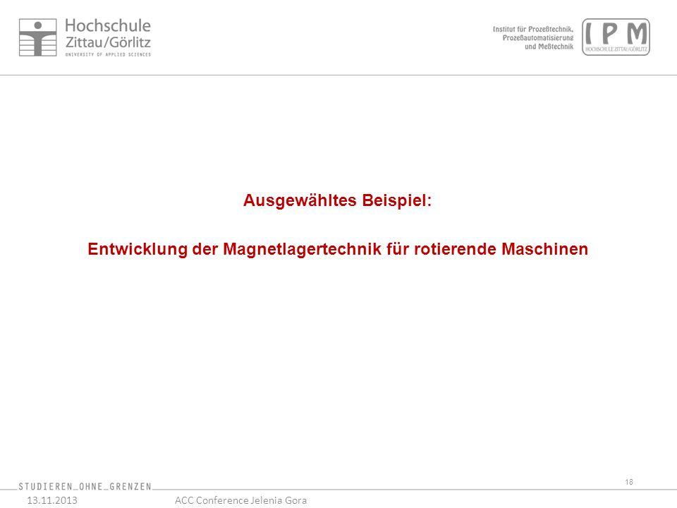 18 13.11.2013ACC Conference Jelenia Gora Ausgewähltes Beispiel: Entwicklung der Magnetlagertechnik für rotierende Maschinen