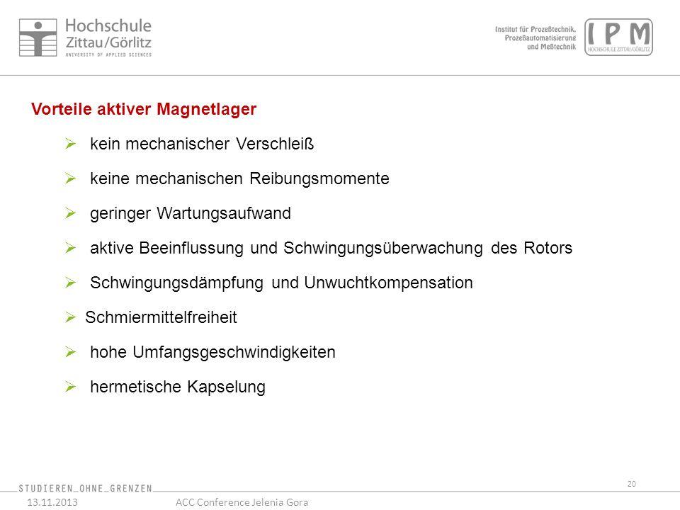 20 13.11.2013ACC Conference Jelenia Gora Vorteile aktiver Magnetlager kein mechanischer Verschleiß keine mechanischen Reibungsmomente geringer Wartungsaufwand aktive Beeinflussung und Schwingungsüberwachung des Rotors Schwingungsdämpfung und Unwuchtkompensation Schmiermittelfreiheit hohe Umfangsgeschwindigkeiten hermetische Kapselung
