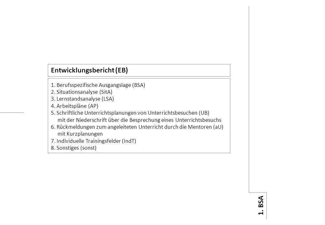 8. sonst 7. IndT 6. aU 5. UB 4. AP 3. LSA 2. SitA 1. BSA 1. Berufsspezifische Ausgangslage (BSA) 2. Situationsanalyse (SitA) 3. Lernstandsanalyse (LSA