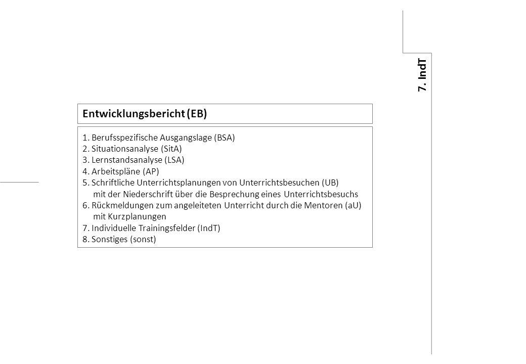 8. sonst 7. IndT 6. aU 5. UB 4. AP 3. LSA 2. SitA 1. BSA Entwicklungsbericht (EB) 1. Berufsspezifische Ausgangslage (BSA) 2. Situationsanalyse (SitA)
