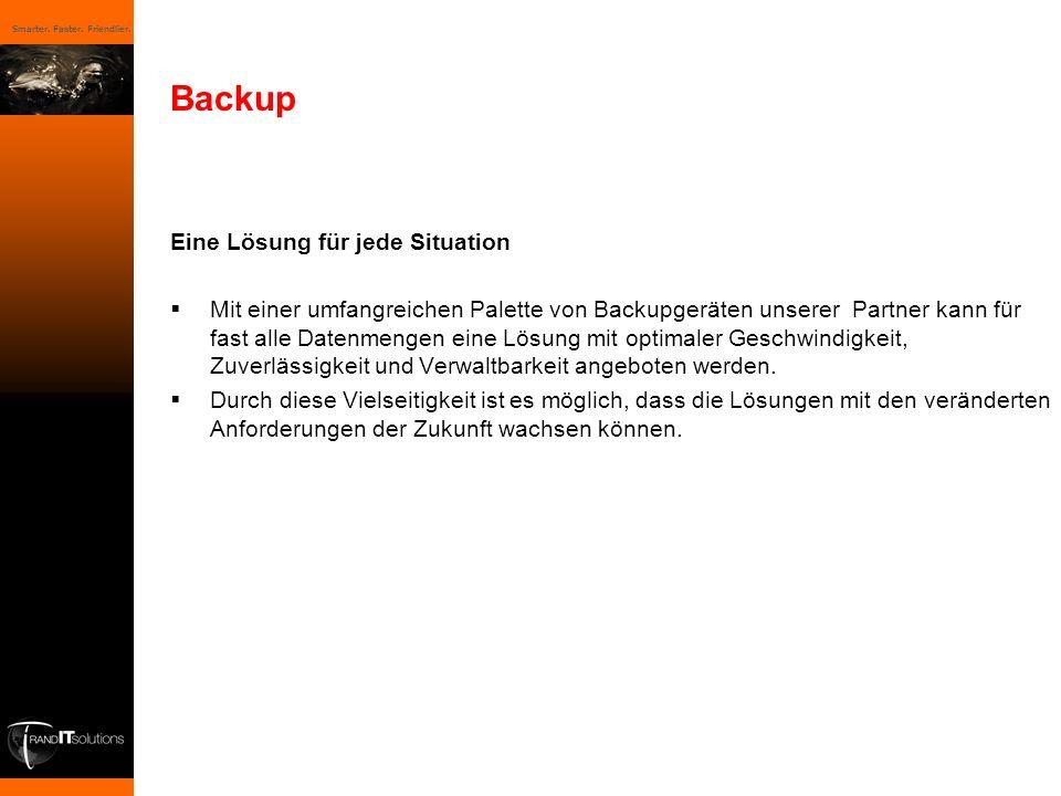 Smarter. Faster. Friendlier. Backup Eine Lösung für jede Situation Mit einer umfangreichen Palette von Backupgeräten unserer Partner kann für fast all