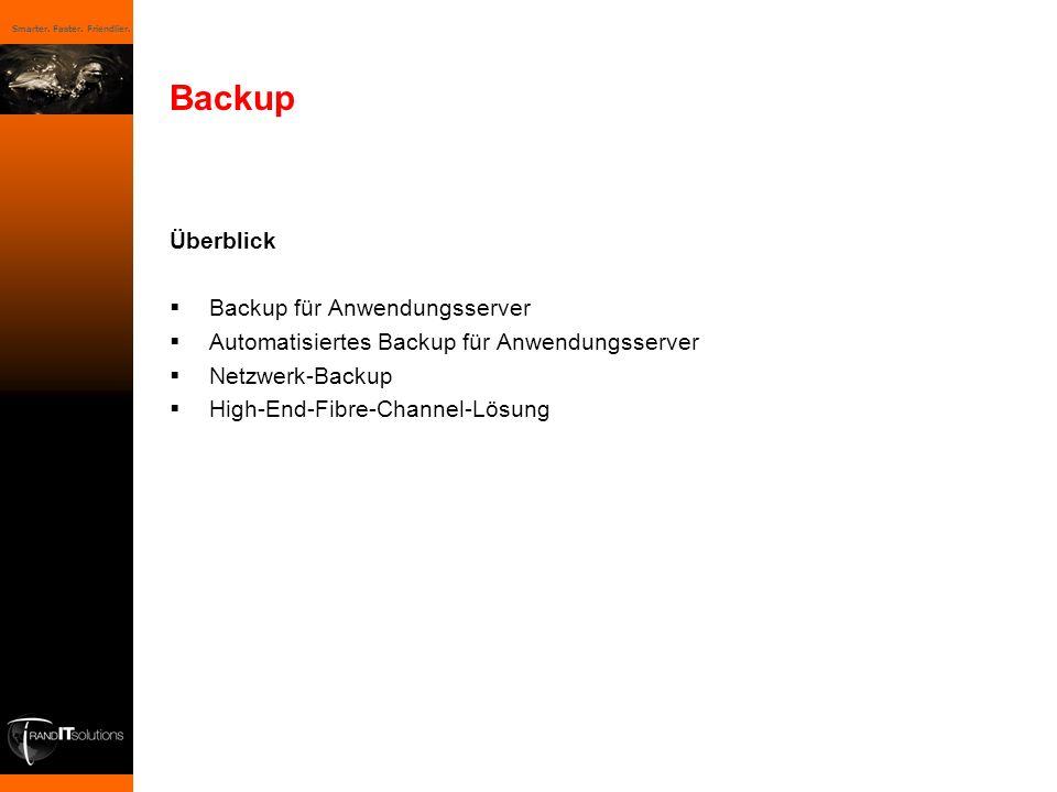 Smarter. Faster. Friendlier. Backup Überblick Backup für Anwendungsserver Automatisiertes Backup für Anwendungsserver Netzwerk-Backup High-End-Fibre-C
